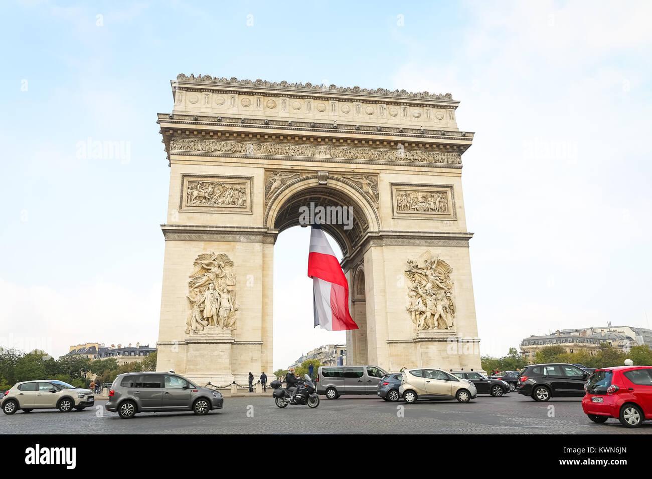 Arc de Triomphe in Paris City, France - Stock Image