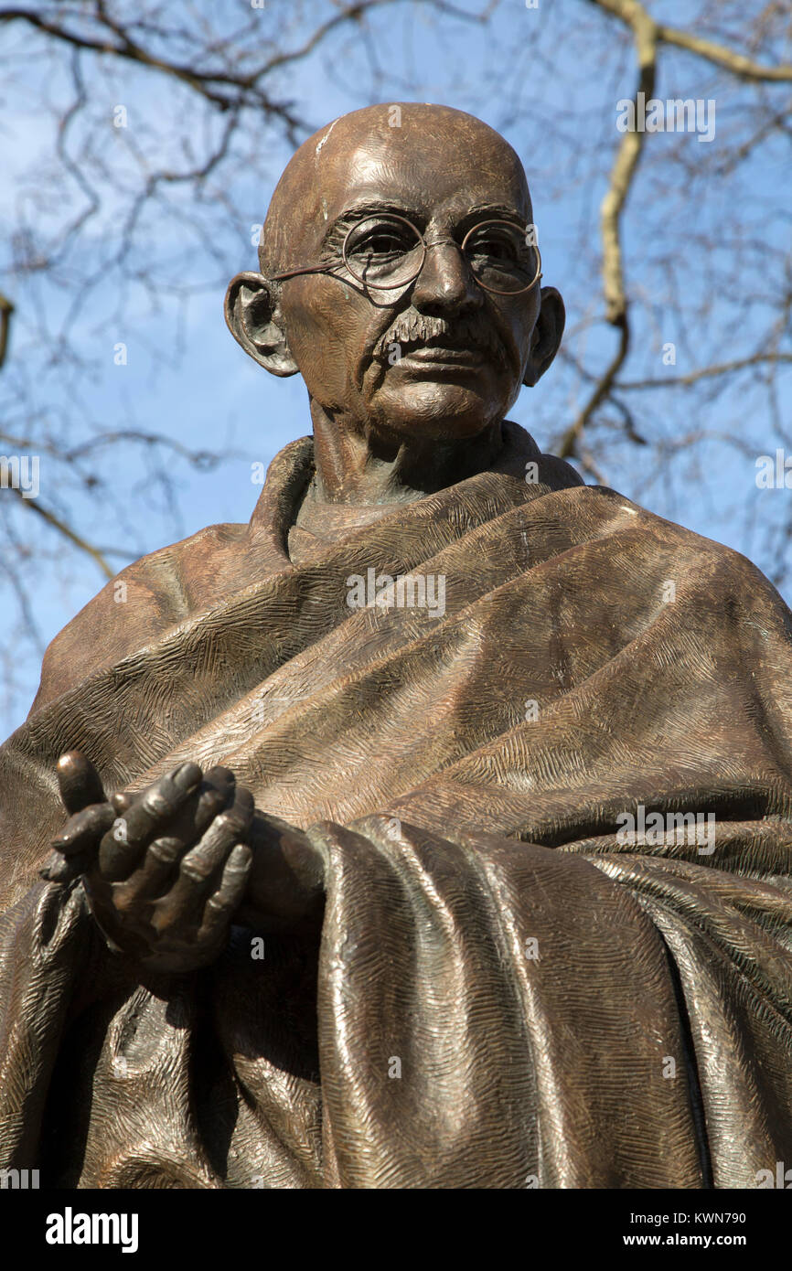 Statue of Mahatma Gandhi at Parliament Square in London, England. Gandhi (1869 - 1948) was a leader in India's - Stock Image