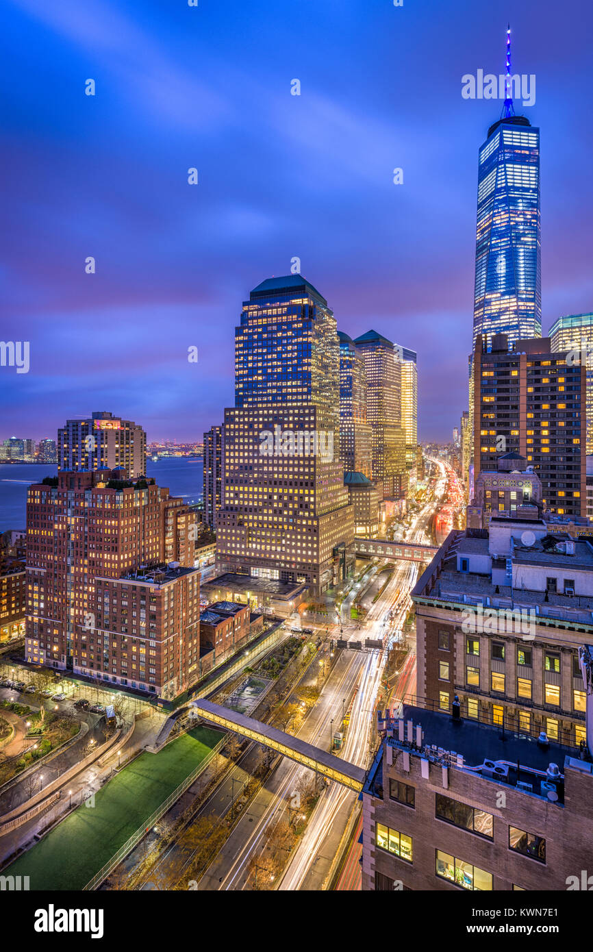 New York City cityscape over West Side Highway in Lower Manhattan. - Stock Image