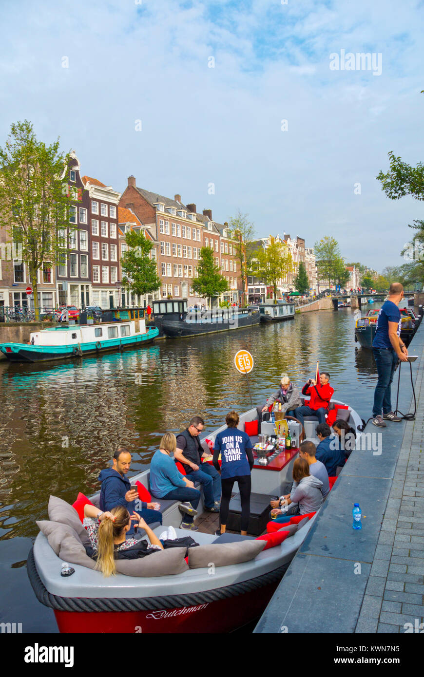 Canal tour cruise boat, Prinsengracht, Amsterdam, The Netherlands Stock Photo