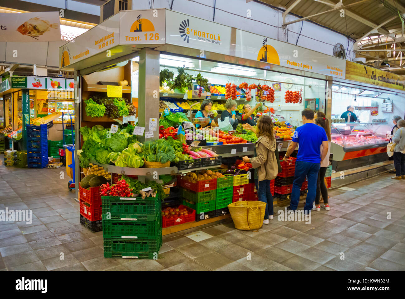 Vegetable stall, Mercat de Santa Catalina, market hall, Palma, Mallorca, Balearic islands, Spain - Stock Image