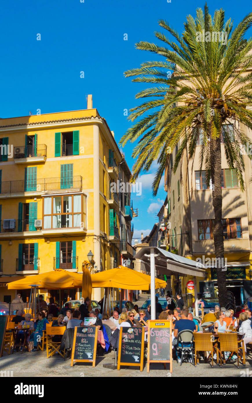 Cafe and restaurant terraces, Placa de la Llotja, Palma, Mallorca, Balearic islands, Spain Stock Photo
