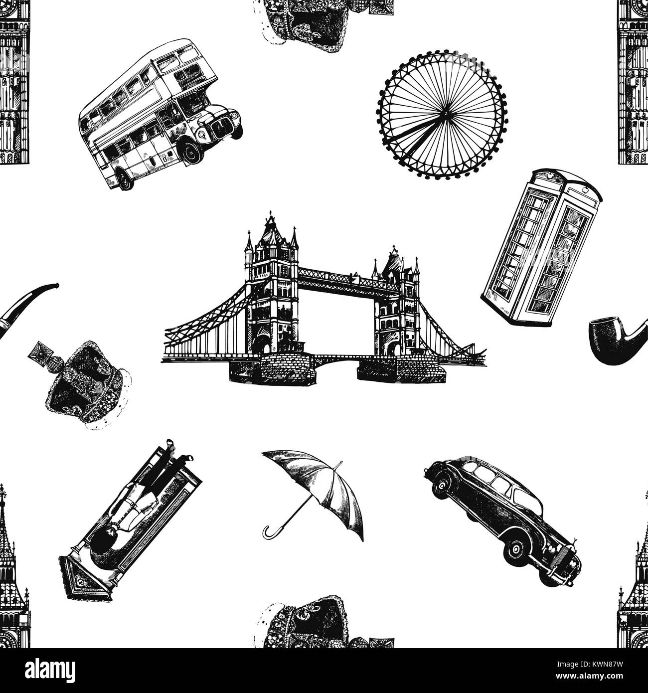 Seamless pattern of hand drawn sketch style England themed objects. Vector illustration isolated on white background. - Stock Image