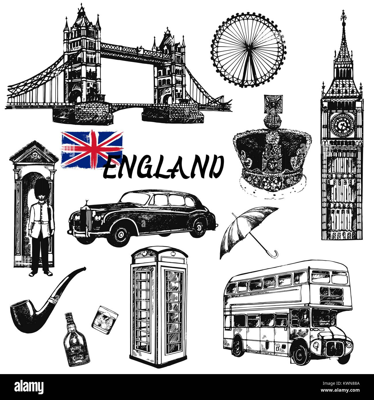 Set of hand drawn sketch style England themed objects. Vector illustration isolated on white background. - Stock Image