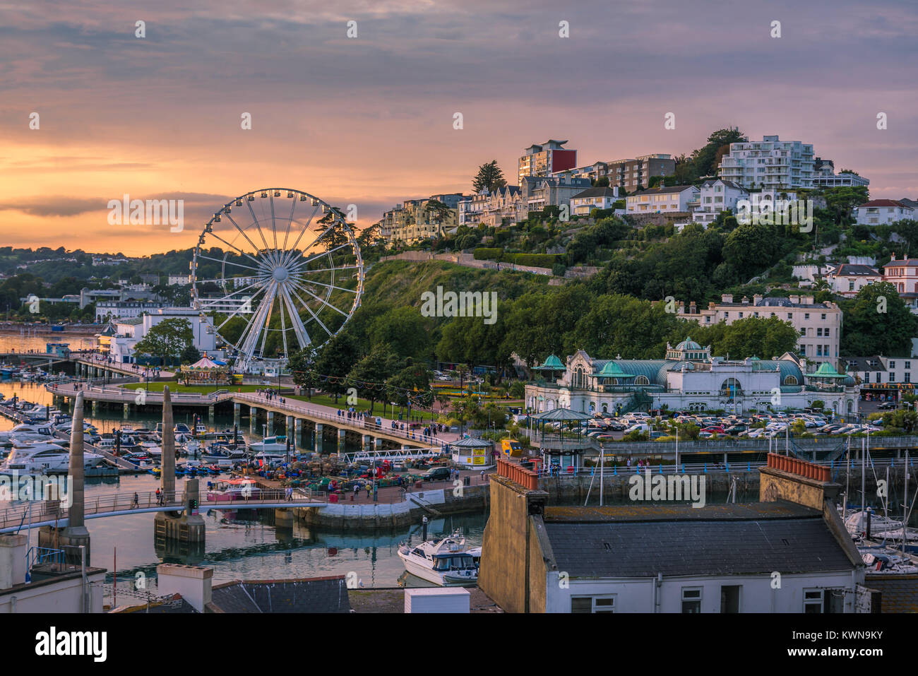 Torquay, Devon, England. August 2017 - Panoramic view of the harbor of the popular seaside resort town during a - Stock Image