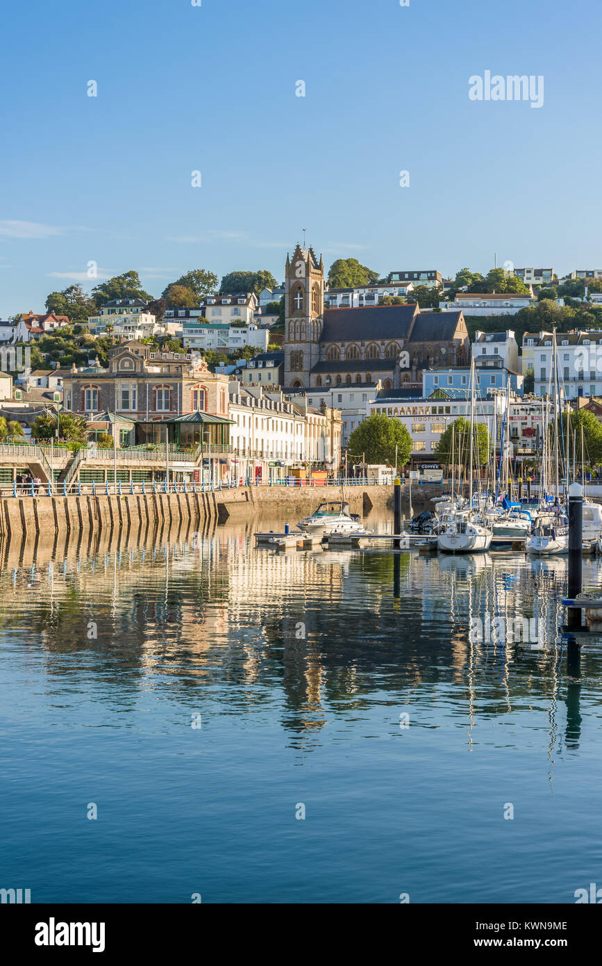 Morning view of Torquay from the Harbour, Devon, England. August 2017 Stock Photo