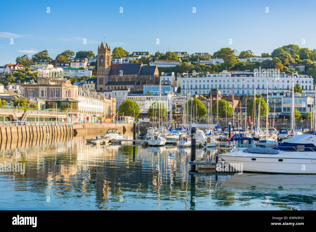 Morning view of Torquay from the Harbour, Devon, England. August 2017 - Stock Image
