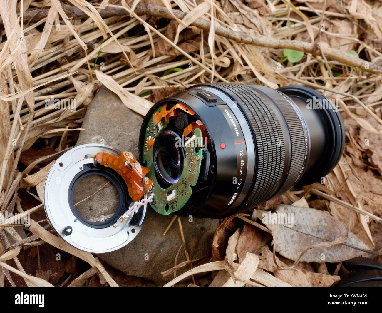 6th of February 2017. My Olympus 12-40 f2.8 lens with camera fall down from bridge to stones in river. The mount - Stock Image