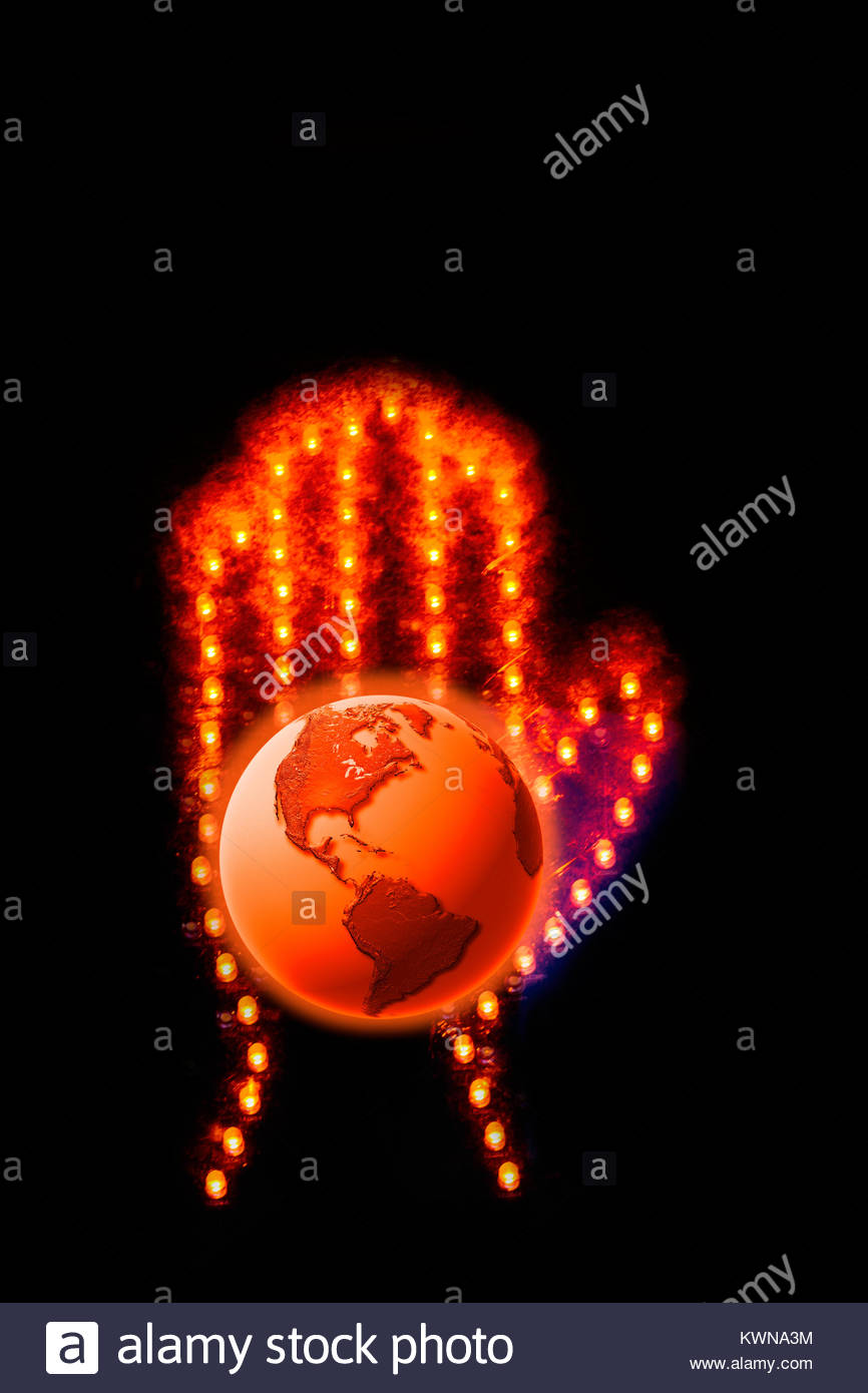 Stop global warming, stop climate change, world on fire, do something about climate change. - Stock Image