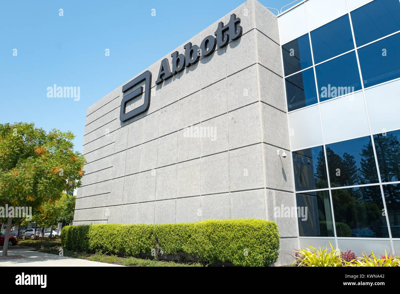Signage With Logo At The Silicon Valley Headquarters Of Pharmaceutical Company Abbott Santa Clara
