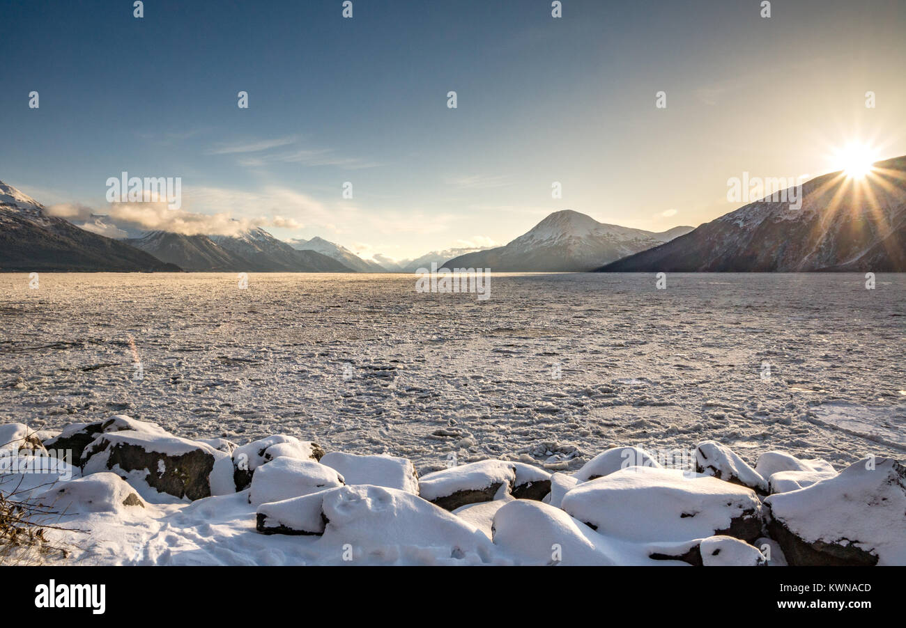 Alaska sunrise over the frozen fjord - Stock Image