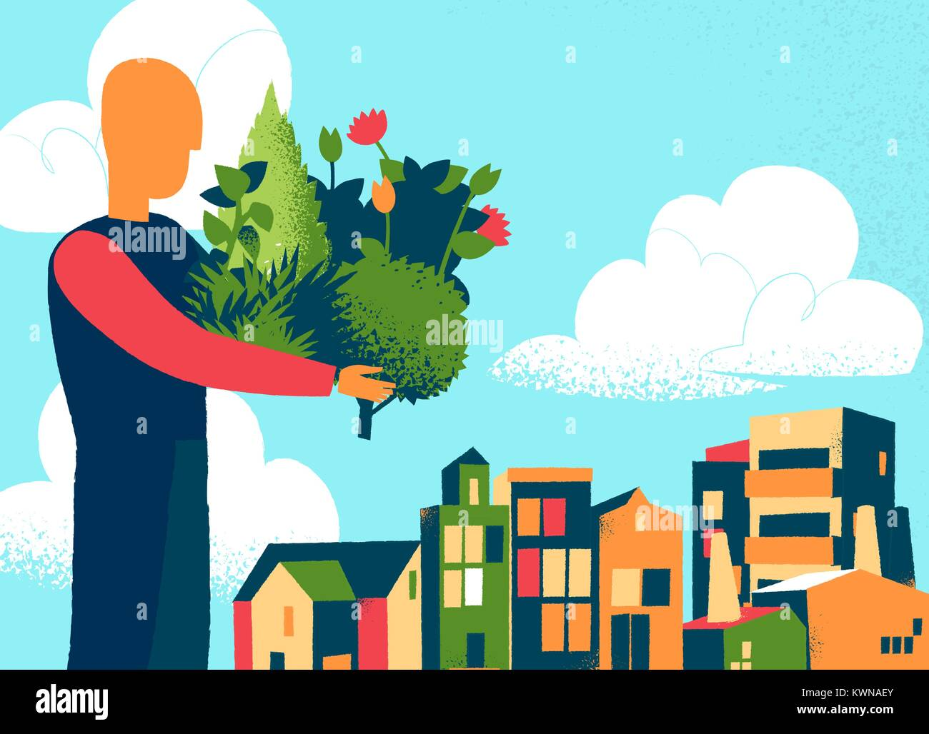 Man bring plants and tress for the city Stock Vector