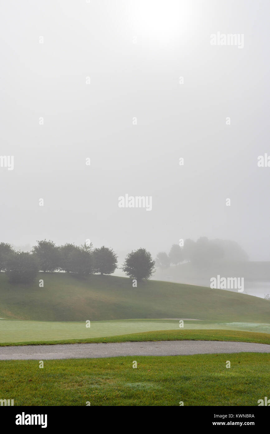 fog over pond and greens at gold course in early morning - Stock Image