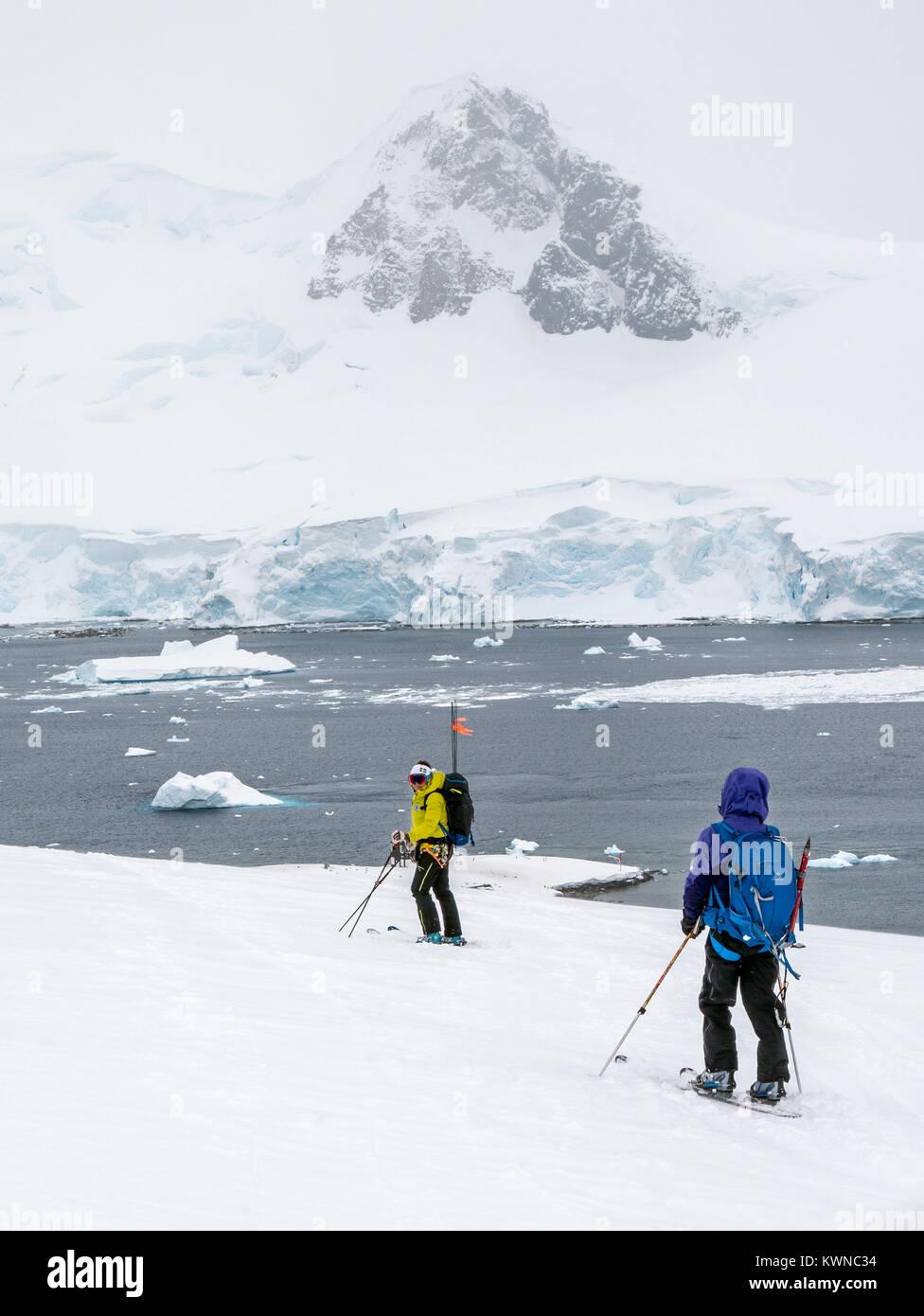 Alpine ski mountaineers skiing downhill in Antarctica - Stock Image