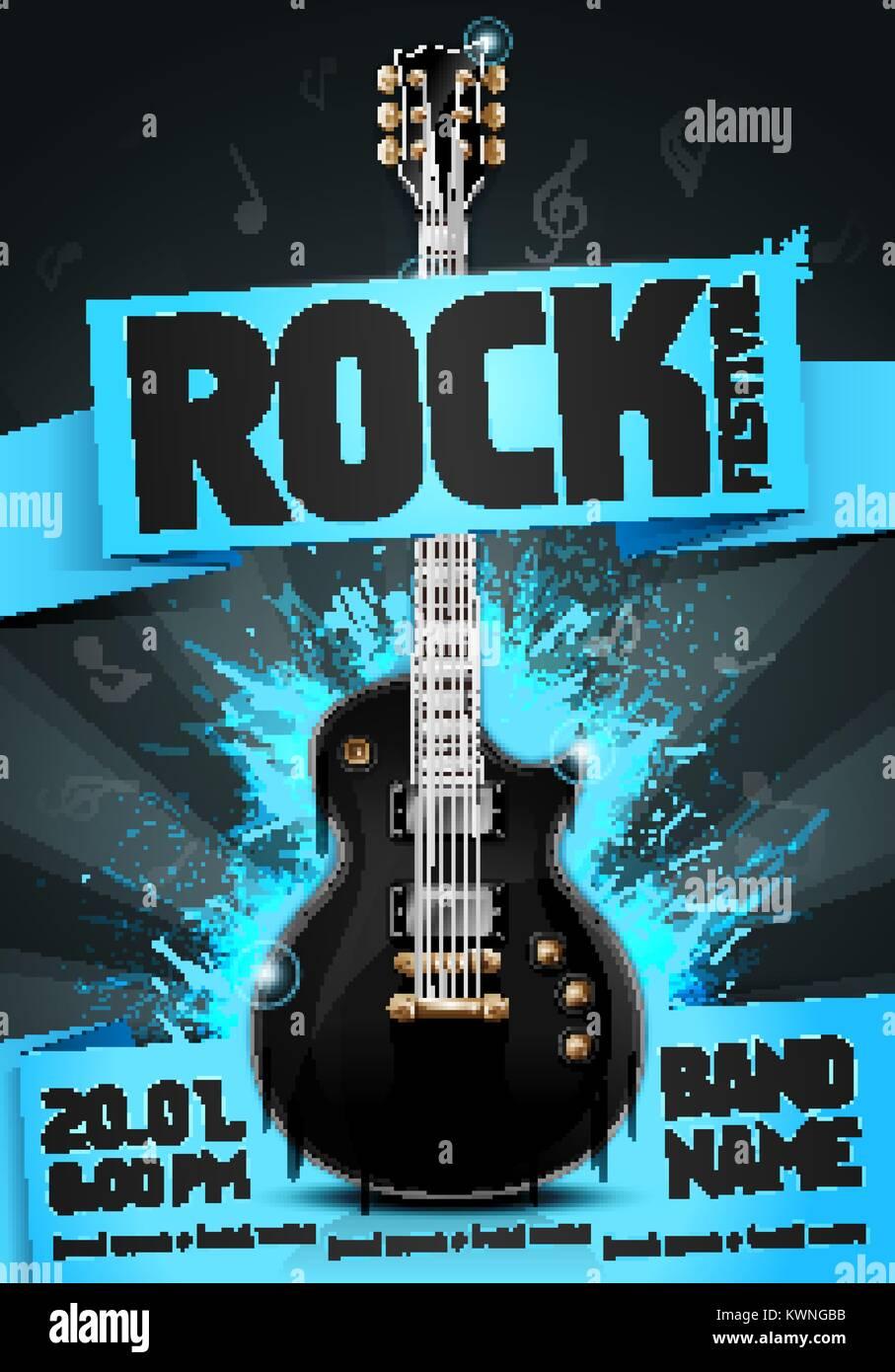 vector illustration blue rock festival party flyer design template