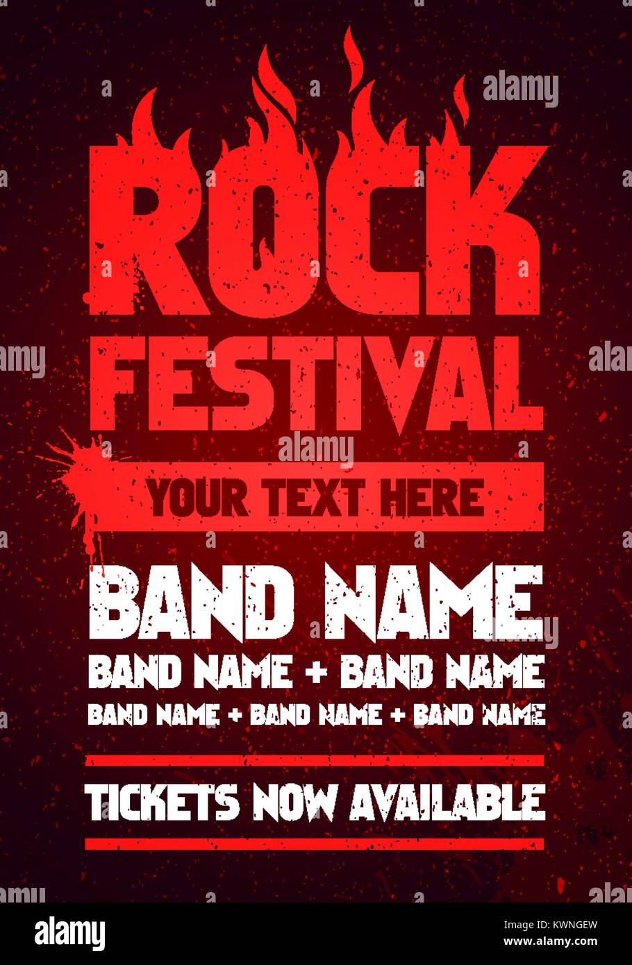 vector illustration red rock festival and party flyer design