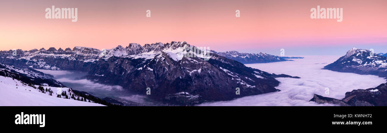 Rhine Valley winter sunset with fog in the valleys Stock Photo