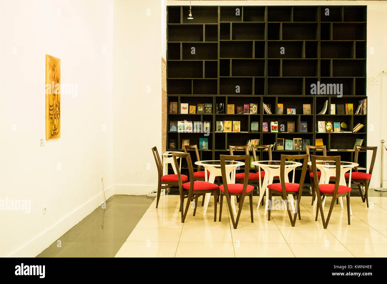 reading room with a bookcase to spend time perfectly.this is an art gallery with a reading room. - Stock Image