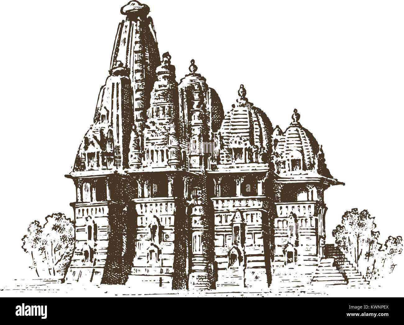 landmark of Indian architecture, Traditional religious hindu Temple. engraved hand drawn in old sketch, vintage - Stock Vector