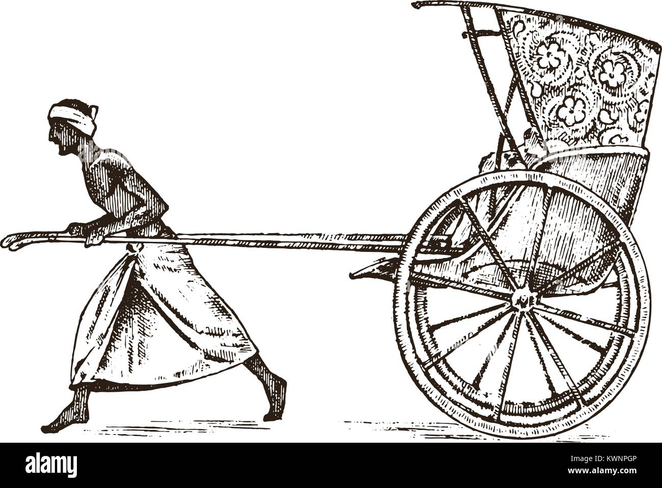 Hindu farmer with Rickshaw, working with a cart for passengers in India. engraved hand drawn in old sketch, vintage - Stock Vector