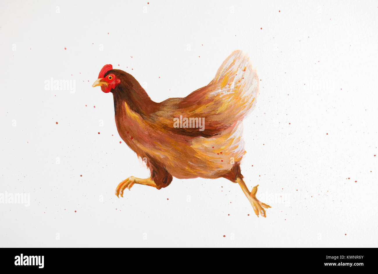 painting of running chicken Stock Photo