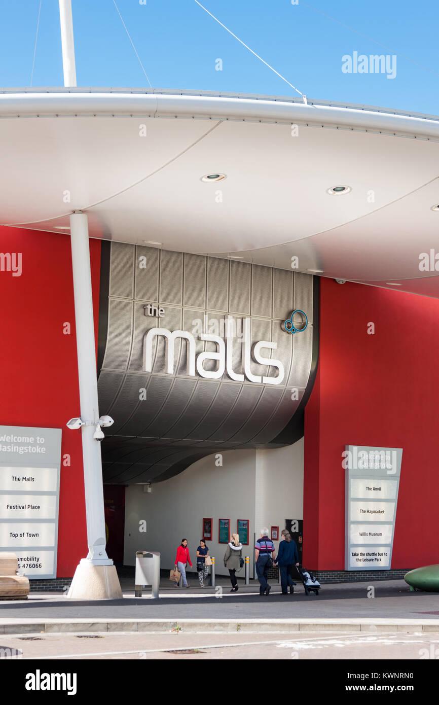 Entrance to the Basingstoke Malls Shopping Centre Basingstoke Hampshire UK - Stock Image