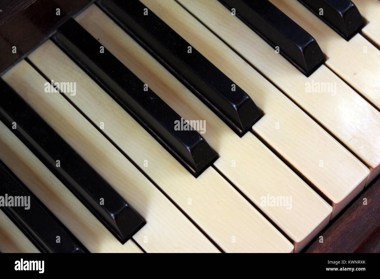 Piano keys on keyboard - Stock Image