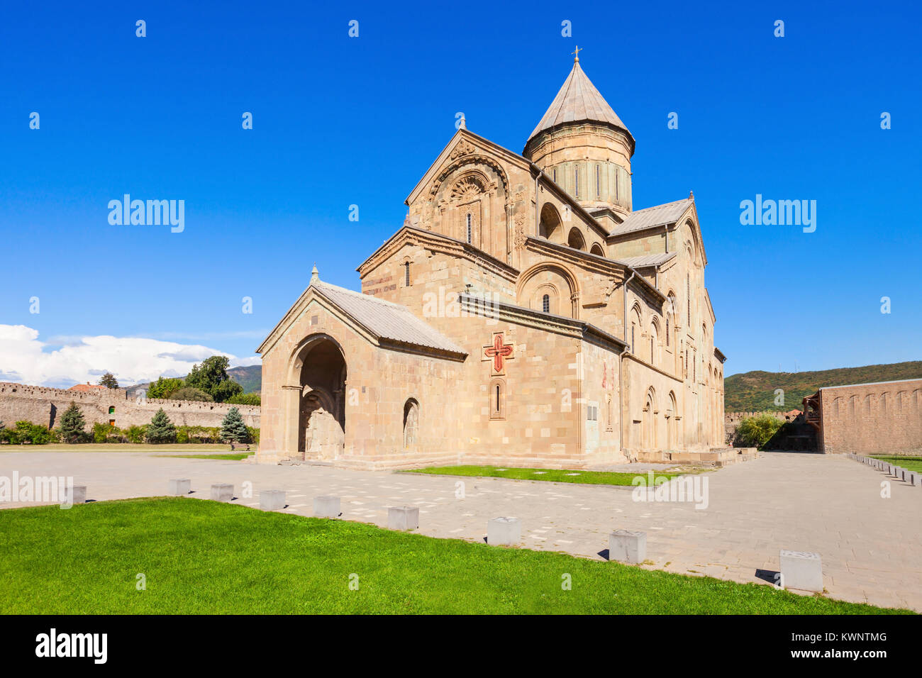 Svetitskhoveli Cathedral is a Georgian Orthodox cathedral located in Mtskheta, 20km northwest of the capital of Stock Photo