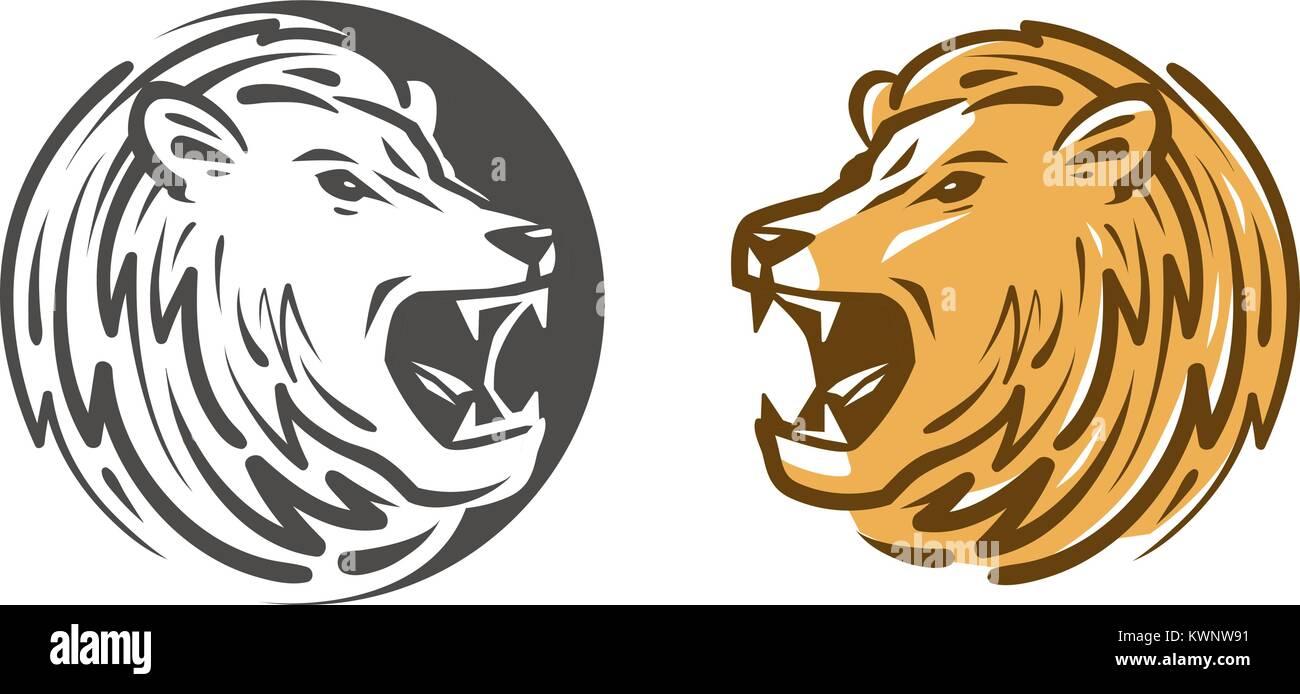 Lion roars logo or label. Animal, wildlife emblem. Vector illustration - Stock Image