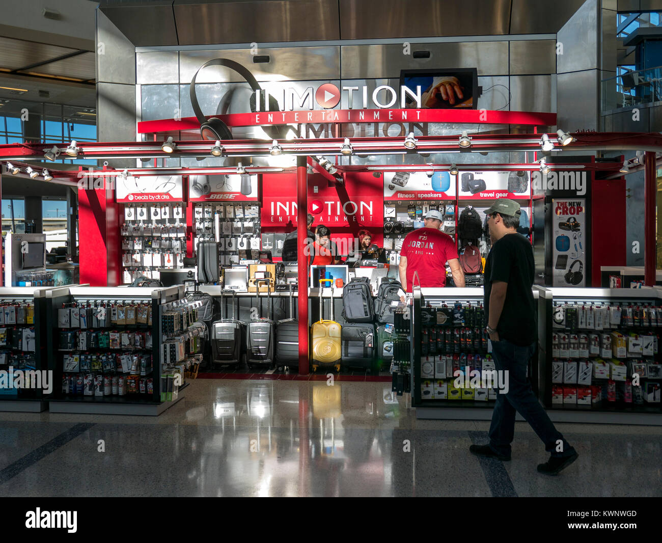 In Motion Electronics retail shop; Aeroparque Jorge Newbery; Buenos Aires; Argentina - Stock Image
