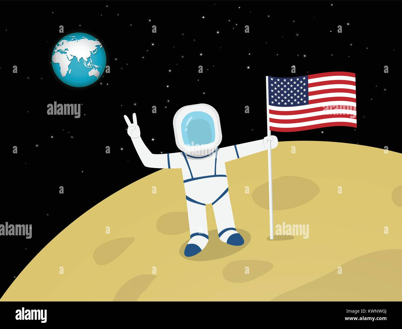 Happy Astronaut on moon surface with US flag, vector design - Stock Vector