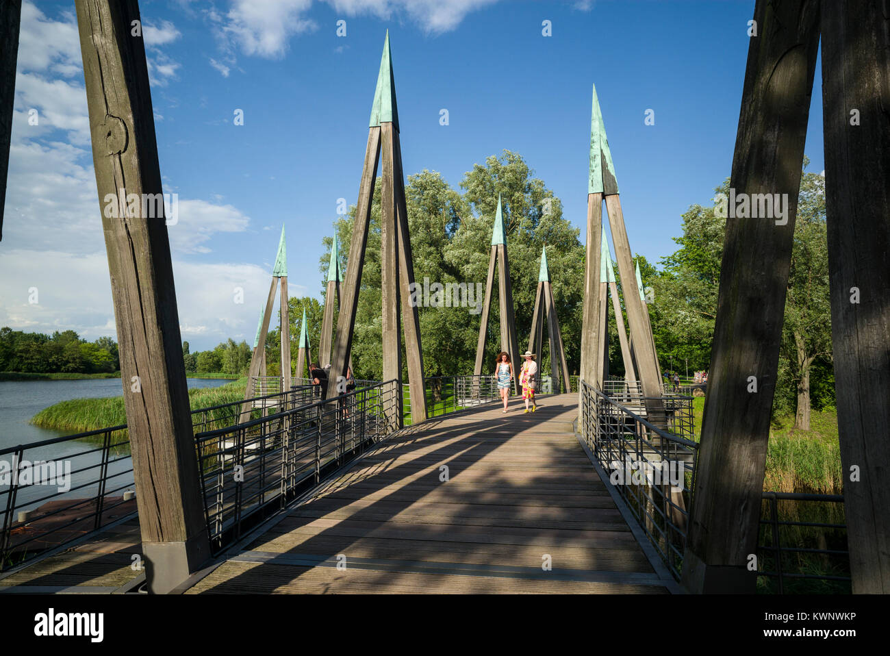 Berlin. Germany. Wooden bridge in the Britzer Garten, Neukölln. Stock Photo