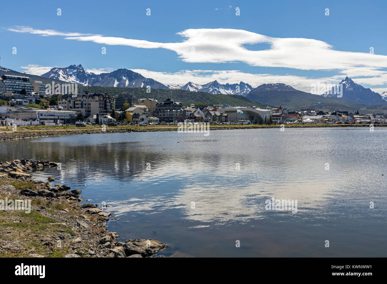Town & mountain view of shipping port of Ushuaia; Argentina - Stock Image