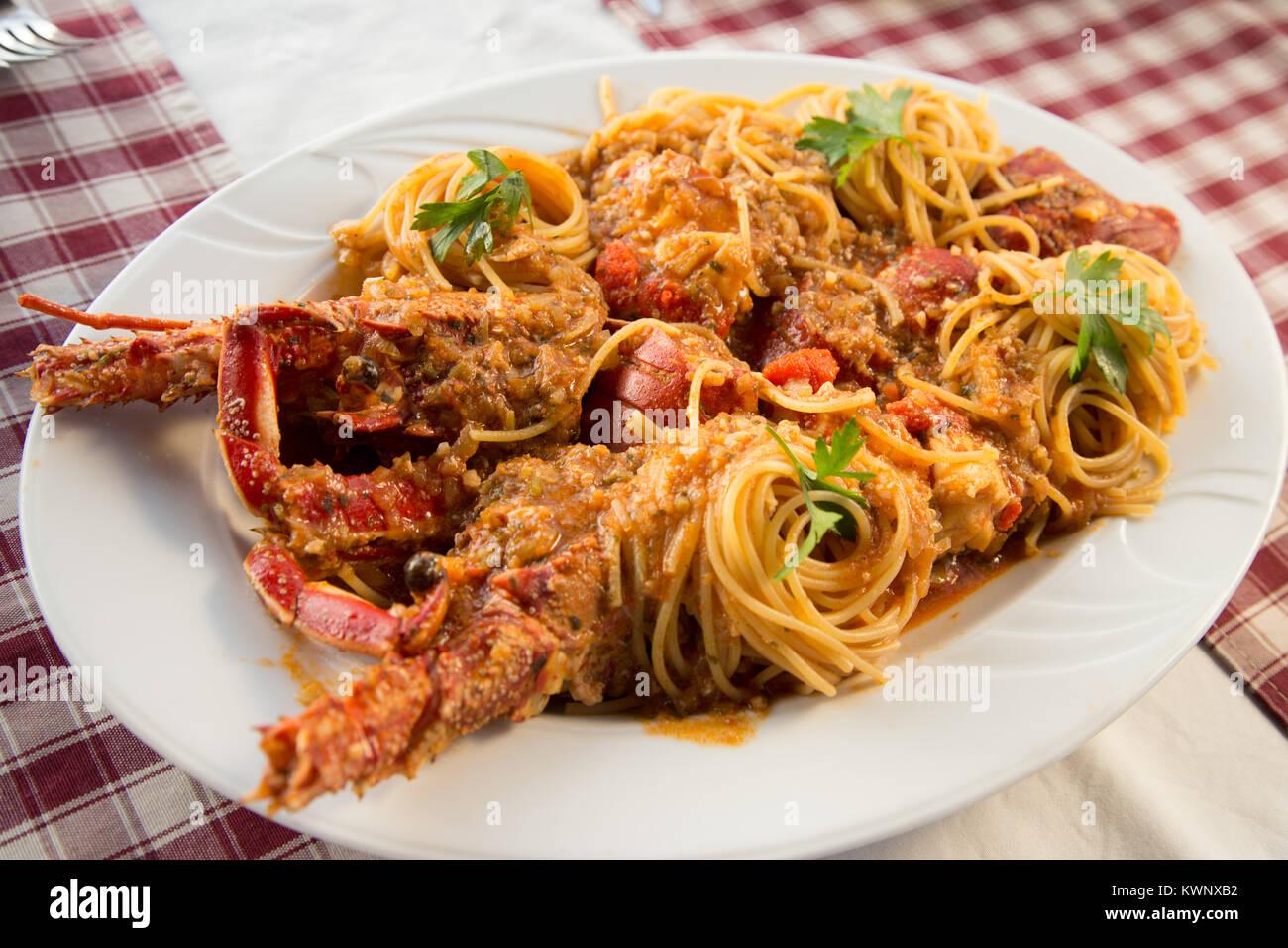 Lobster with spaghetti, Food, Croatia - Stock Image