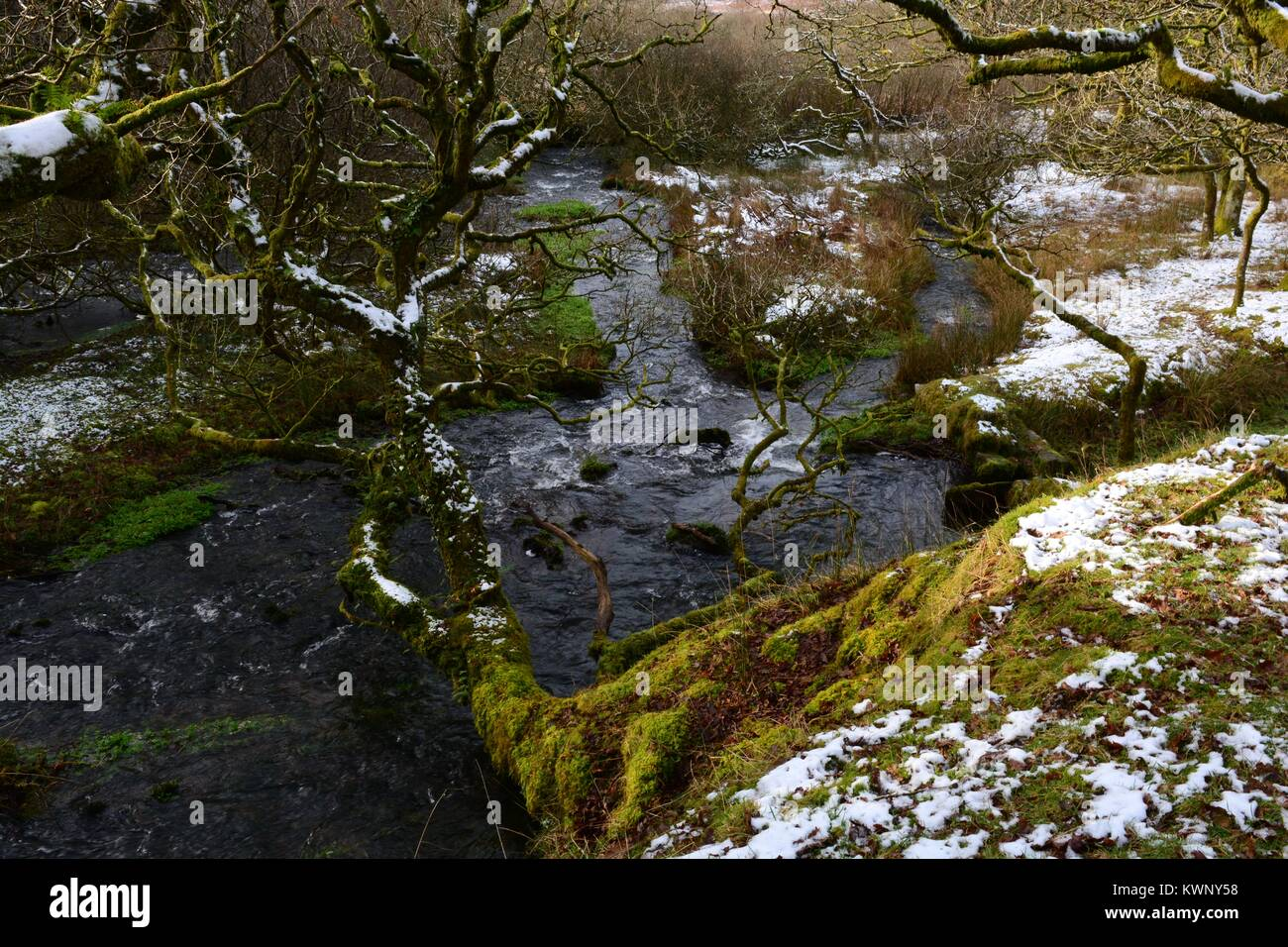 River Loughor near its source in winter   Black Mountain Brecon Beacons National park Fforset Fawr Geopark Carmarthenshire Stock Photo