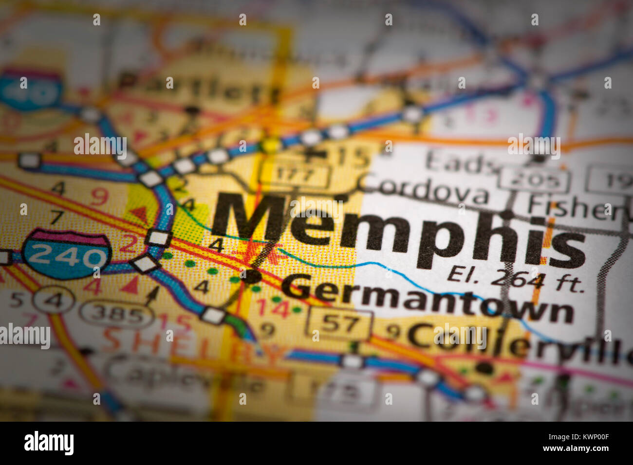 Closeup of Memphis, Tennessee on a road map of the United ...