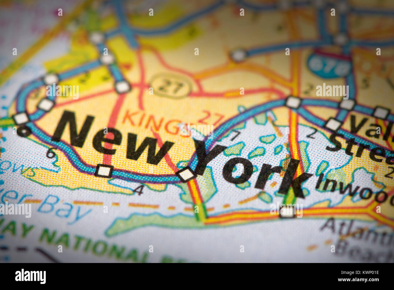 closeup of new york city on a road map of the united states stock