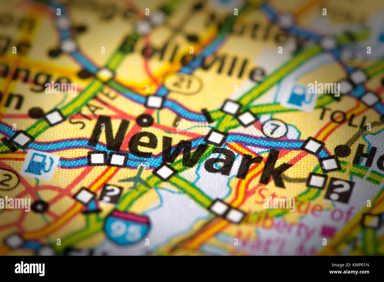 Closeup Of Newark New Jersey On A Road Map Of The United States