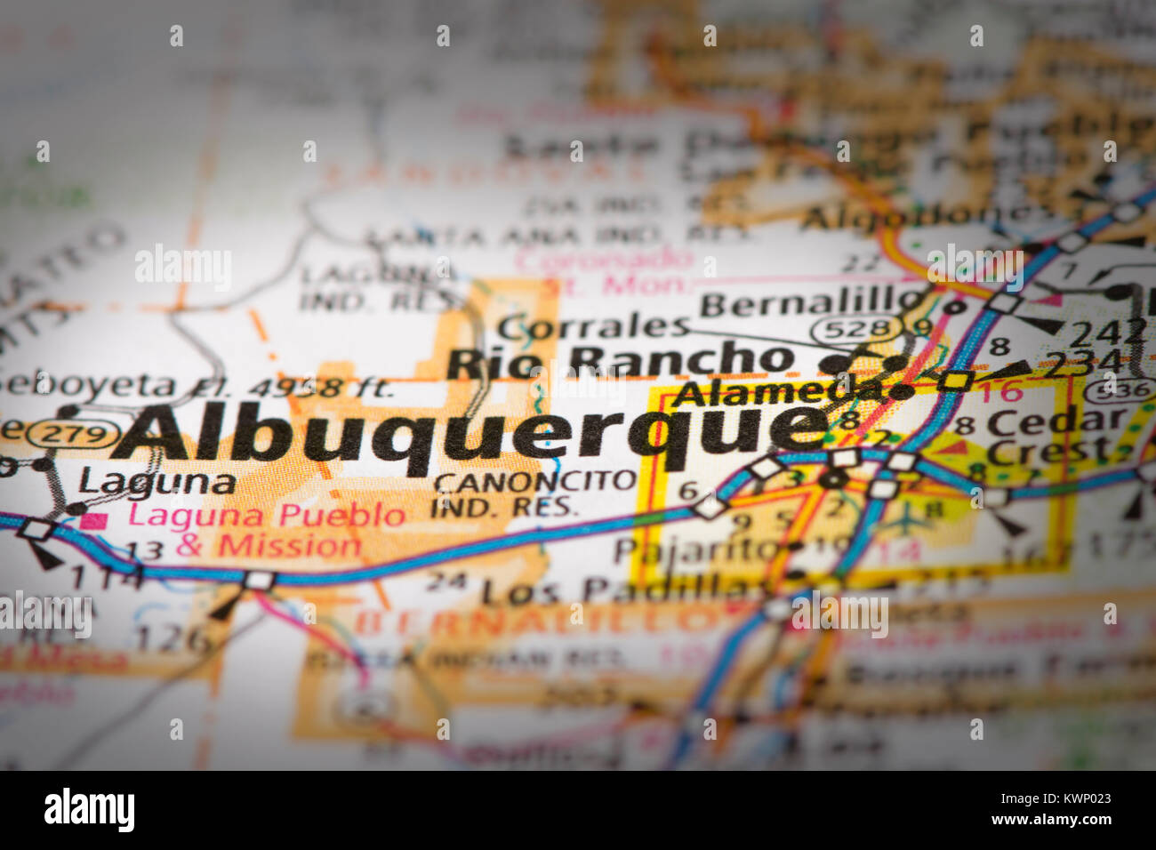 closeup of albuquerque new mexico on a road map of the united states