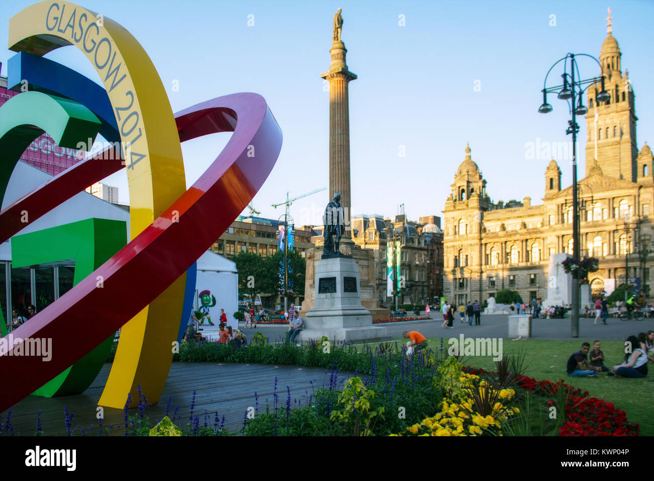 The Big G sculpture and City Chambers, during the XX Commonwealth Games, George Square, Glasgow, Scotland - Stock Image