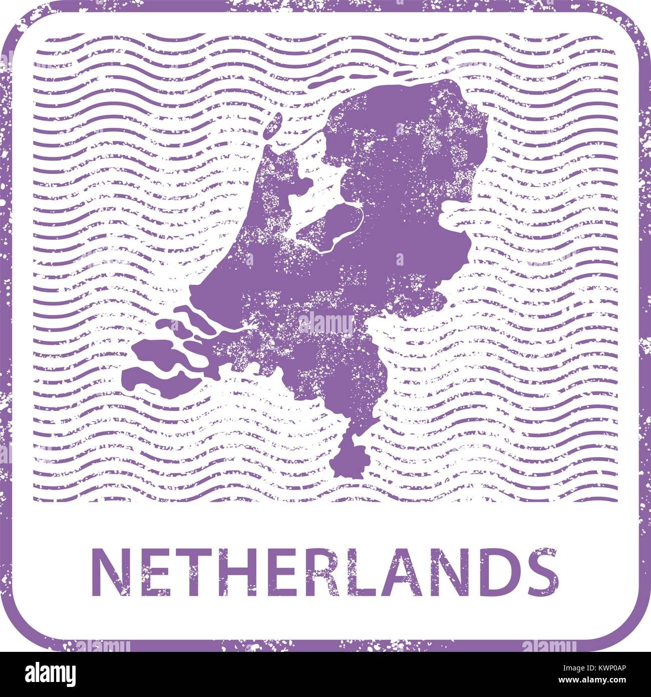 Netherlands postal stamp - outline of Holland counrty - Stock Vector