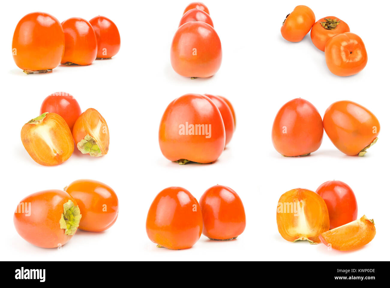 Collage of persimmon ( Kaki ) on a white background cutout - Stock Image