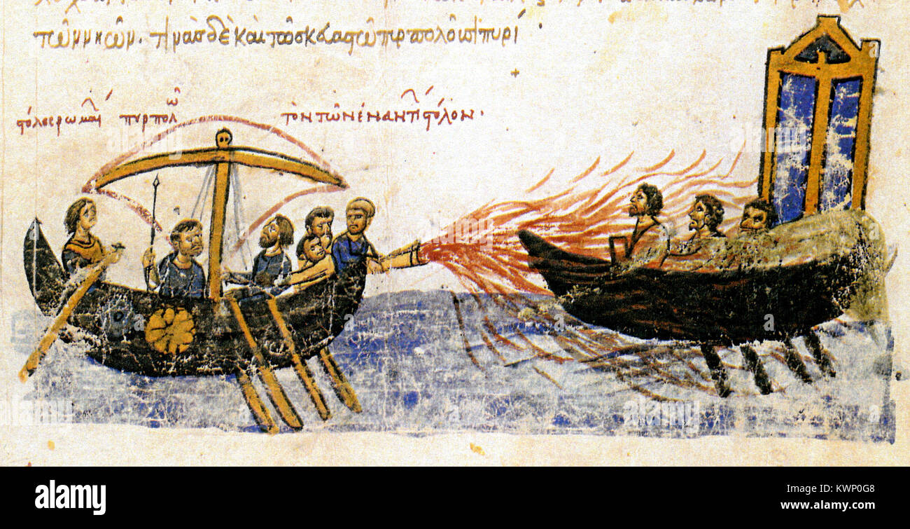 Depiction of Greek fire in the Madrid Skylitzes, Greek fire was an incendiary weapon used by the Eastern Roman (Byzantine) - Stock Image