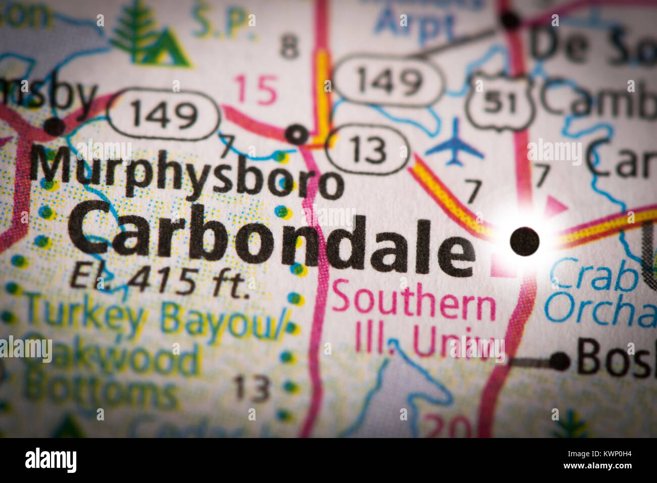 Closeup of Carbondale, IL on a road map of the United States with ...