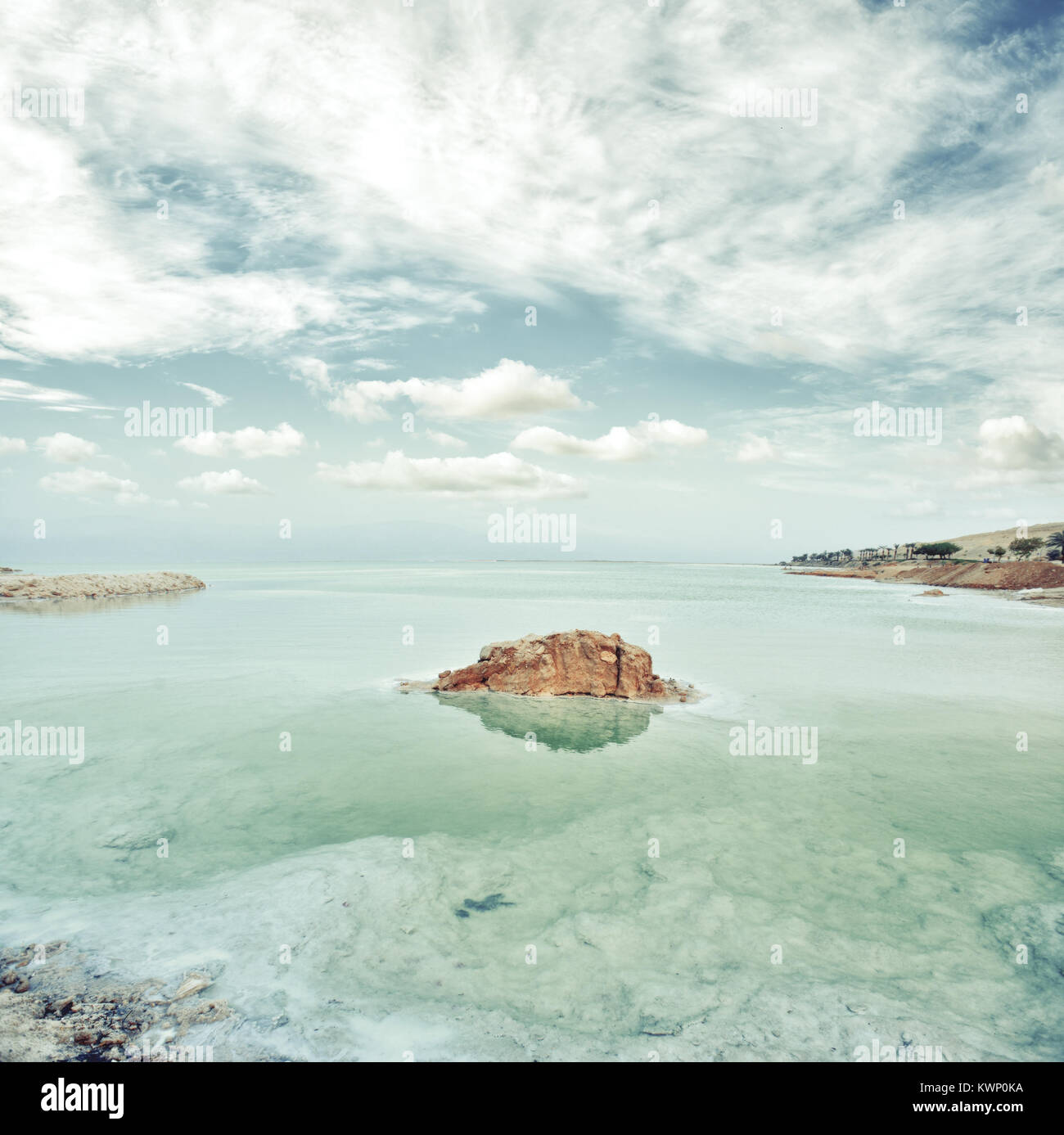 View of Dead Sea coastline at sunset, Israel Vintage filter applied Stock Photo