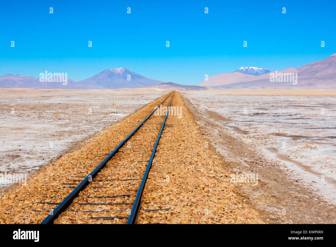 Old railway in Salar de Uyuni (salt flat), Bolivia Stock Photo