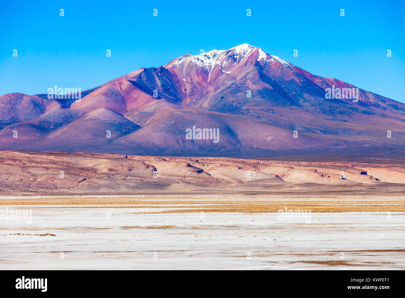 Ollague or Ullawi is a massive andesite stratovolcano in the Andes on the border between Bolivia and Chile. - Stock Image