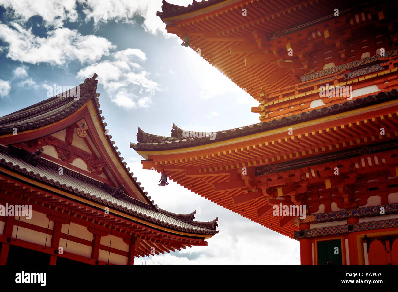 Architectural detail of Sanjunoto bright orange pagoda building at Kiyomizu-dera Buddhist temple in Kyoto, Japan - Stock Image