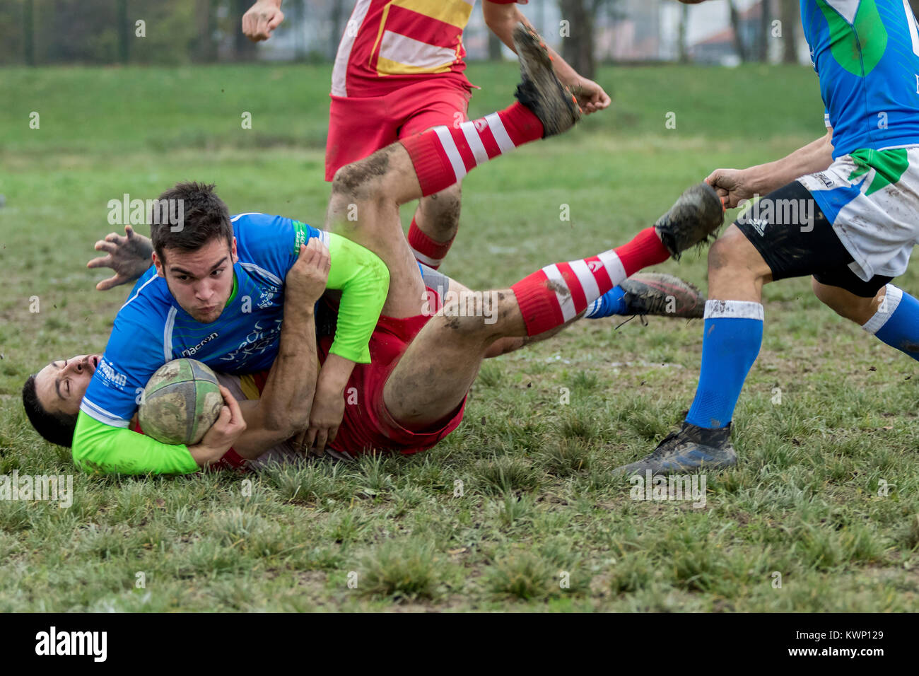ZAGREB, CROATIA - NOVEMBER 18, 2017: Rugby match between Rugby club Mladost and Rugby club Ljubljana.  Rugby players Stock Photo