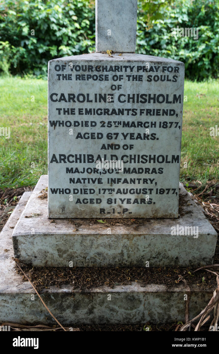The grave of Caroline Chisholm, a progressive 19th century English humanitarian famed for her work on female immigrant - Stock Image